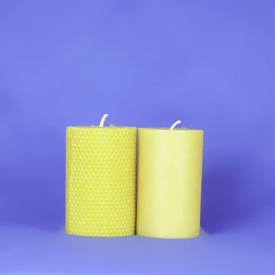 "Beeswax Solid 3"" x 5"" Honeycomb Pillar Candle"